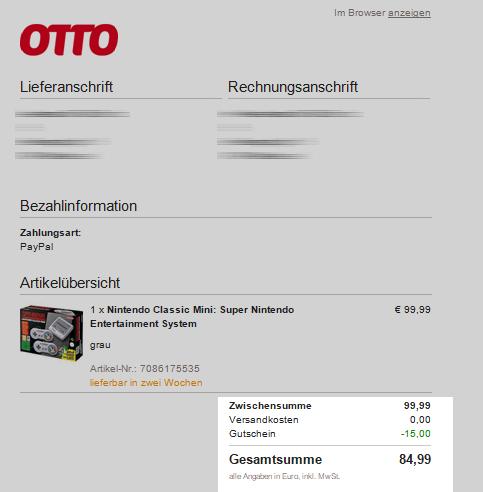 Mega Deal Snes Mini 8499 Bei Otto Dank Gutschein Nur Heute